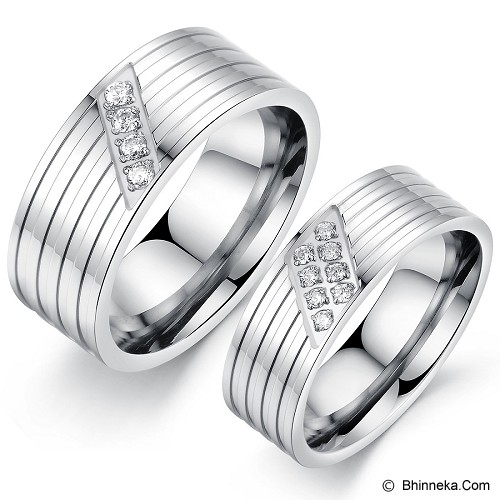 TITANIUM RING Cincin Couple Size 7(F) & 7(M) [GS296] - White - Cincin